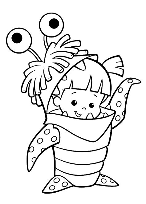 free printable coloring pages of monsters boo costume monster inc coloring pages for kids printable