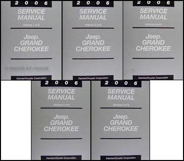 2006 jeep grand cherokee repair shop manual original 5 vol set