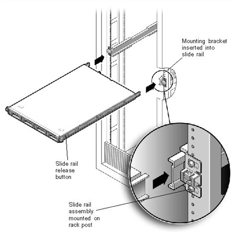 how to install server rack rails installing the server into a rack with optional slide rails