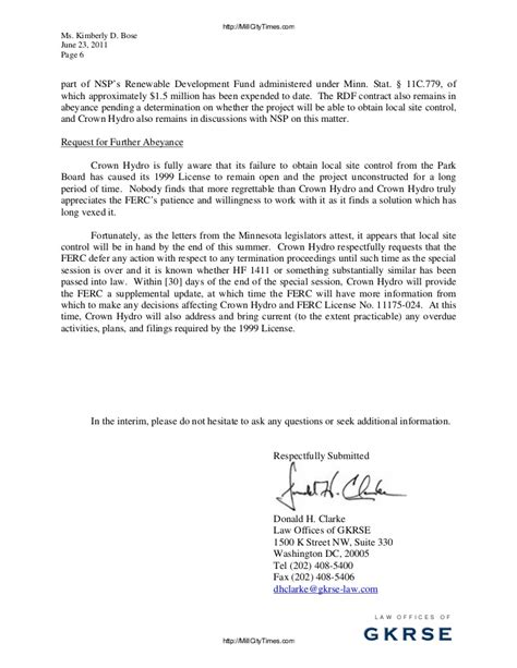 Response Cancellation Letter Crown Hydro Response To Ferc Termination Letter