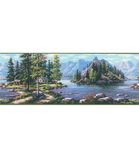 Cabin Wallpaper Border by Bunyan Blue Mountain Cabin Wallpaper Border Jo