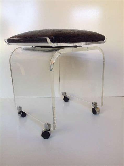 acrylic vanity bench acrylic swivel top vanity stool designed by charles hollis