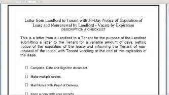 Sle Lease Termination Letter From Landlord To Tenant by Landlord To Tenant 30 Day Notice Of Expiration Of Lease And Nonrenewal