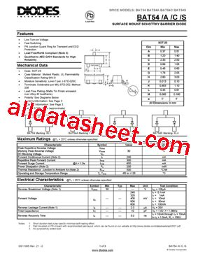 diodes inc bat54 bat54 데이터시트 pdf diodes incorporated
