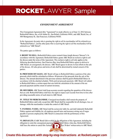 consignment inventory agreement template consignment agreement contract sle rocket lawyer