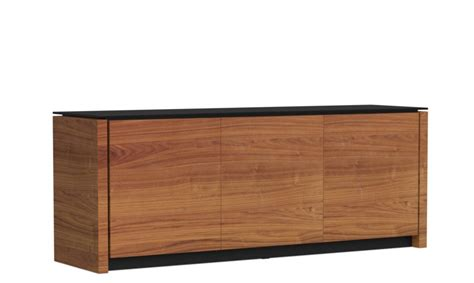 Black Sideboard With Glass Doors Calligaris Sideboards Calligaris Mag 3 Door Sideboard Walnut Black Glass Top Sideboards