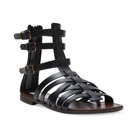madden sandals lyst steve madden plato flat gladiator sandals in black