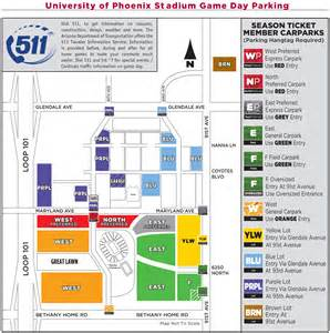 University Of Phoenix Stadium Parking Map by Azcardinals Com Parking Maps Amp Directions