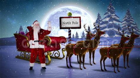 santa waving   sleigh  reindeer   north pole stock footage video  digital