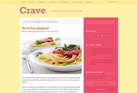 wordpress themes free food blog crave food blog wordpress theme wpexplorer