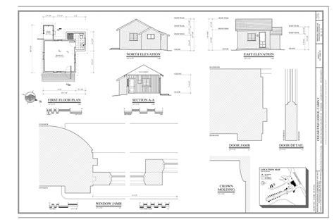 File first floor plan north elevation east elevation building section door details window