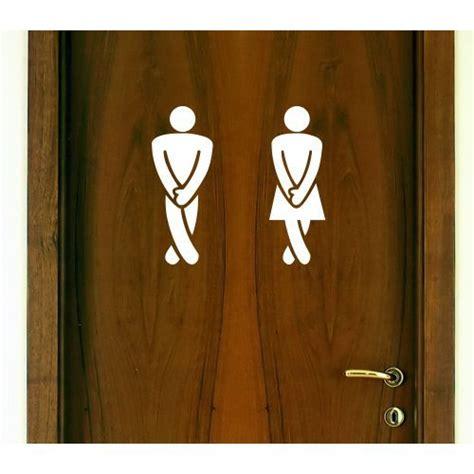 Bathroom Door Decals by Restroom Door Decal Set Quot Legs Crossed From