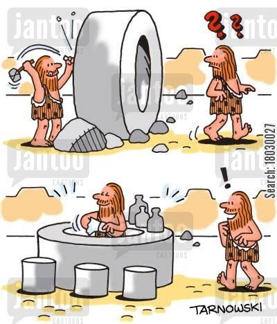 funny cartoons caveman wheel beer cartoons humor from jantoo cartoons