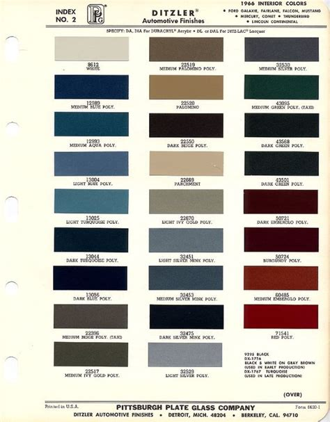 1966 mustang interior paint charts maine mustang misc auto mustangs 1966 ford