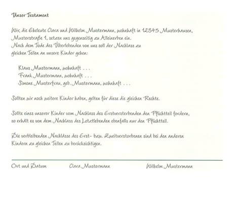 Lebenslauf Unbedingt Unterschreiben Berliner Testament Muster Pdf Testament Vorlage Gratis Rechtsanwlte Im