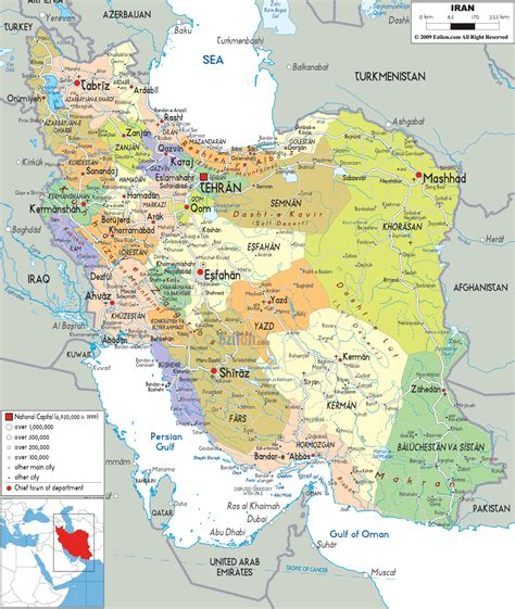 detailed clear large map of iran ezilon maps