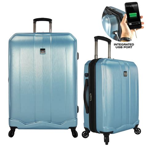 charging for carry on bags piazza expandable smart luggage brushed spinner with usb