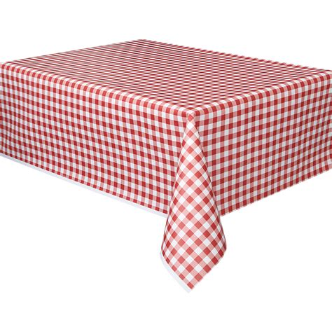 plastic table covers walmart plastic red gingham table cover 108 quot x 54 quot walmart com