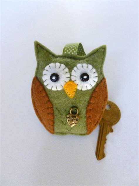 Bagcharm Handmade handmade felt owl keyring bag charm by sewjunejones on