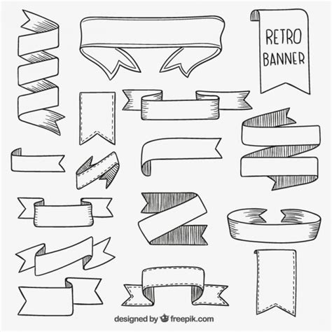 free doodle banner vector retro banners vector free