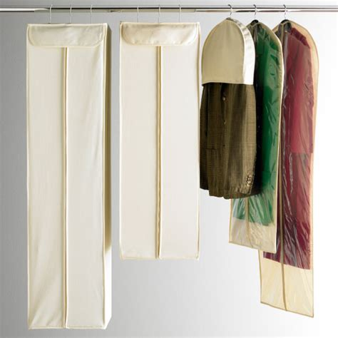 Hanging Clothes Storage natural cotton shoulder covers the container store