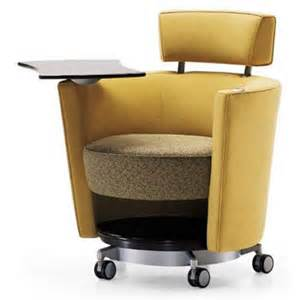 Armchair With Casters Haworth Hello Seating Mobile Lounge Chair With Tablet 4855