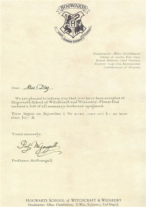 What Does A College Acceptance Letter Say Hogwarts Acceptance Letter