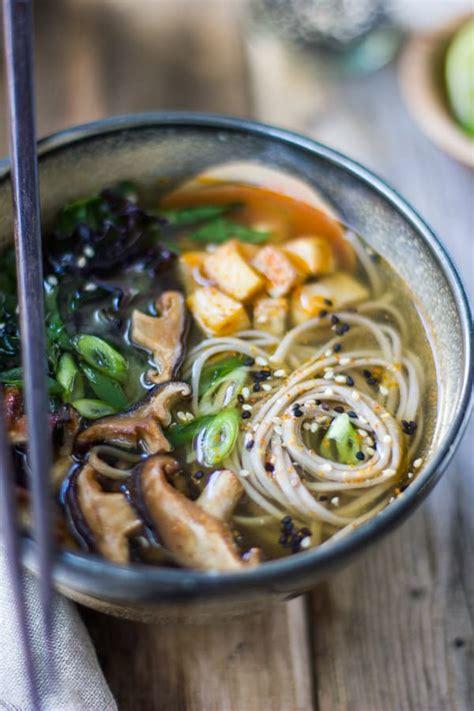 miso  soba noodle soup  roasted sriracha tofu