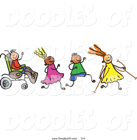doodle with others vector clipart of a childs sketch of a happy of