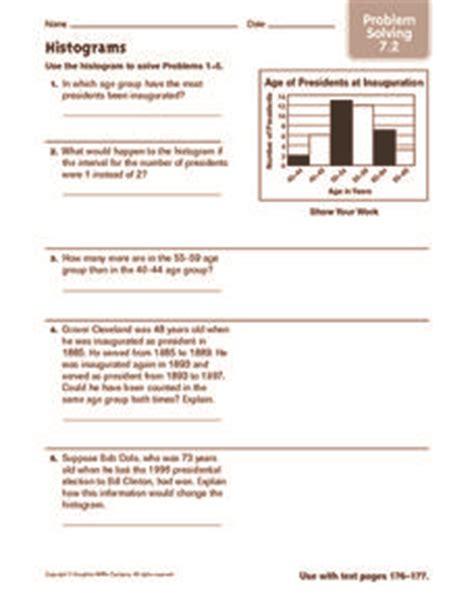 Histogram Worksheet 6th Grade by Histograms Problem Solving 5th 6th Grade Worksheet