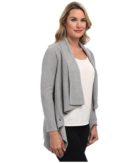 Sweater Ck T1310 3 calvin klein ribbed sweater jacket in gray lyst