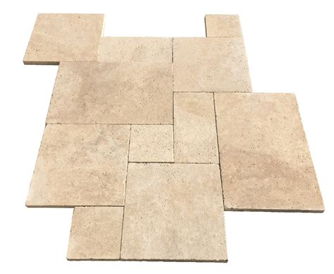 Travertine Patio Pavers Premium Select Light Ivory Tumbled Travertine Pavers