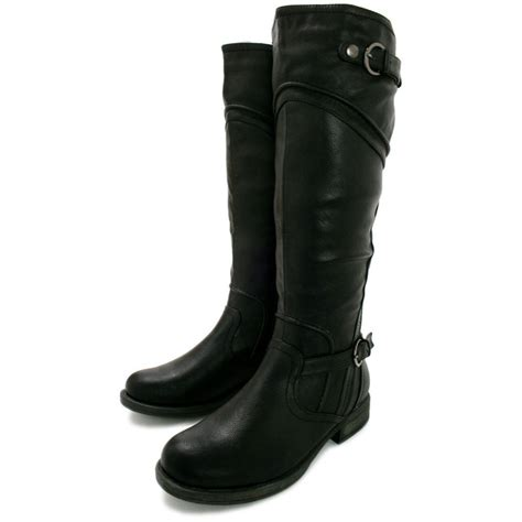 macie block heel knee high wide calf biker boots black