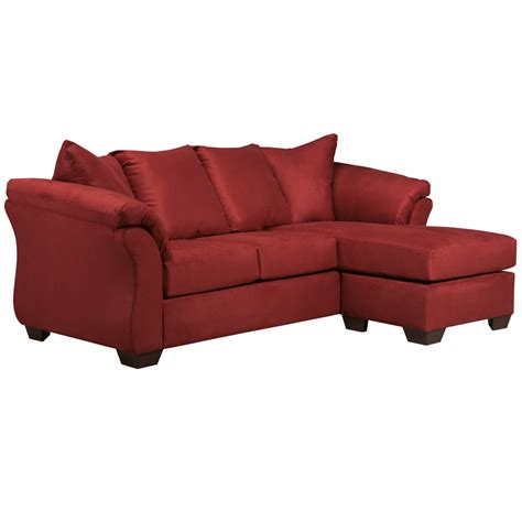 red chaise signature design by ashley darcy sofa chaise in salsa