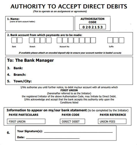 direct debit form 10 direct debit forms to sle templates