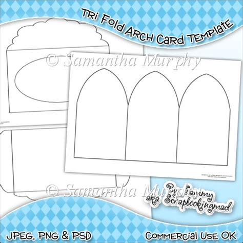 tri fold card template tri fold arch card envelope template commercial use ok