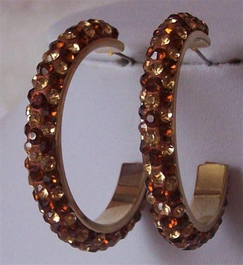 Brown Topas brown topaz swarovski hoop earrings