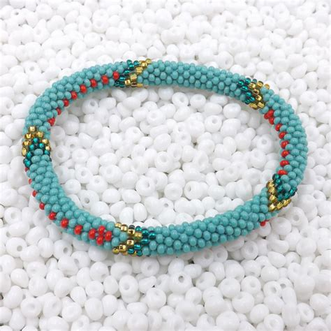 Handmade Bead Bracelet - nepal bracelet glass seed bead roll on crochet nepal
