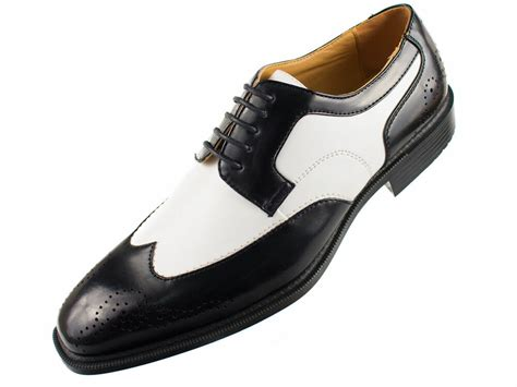 bolano s faux leather 2 tone black white lace up wing tip oxford dress shoes ebay