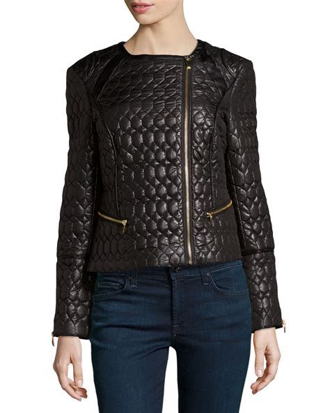 Via Spiga Jacket For by Via Spiga Quilted Fauxleather Cropped Jacket Black Small
