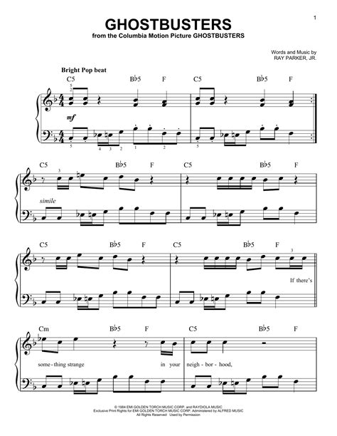 theme song ghostbusters ghostbusters sheet music by ray parker jr easy piano