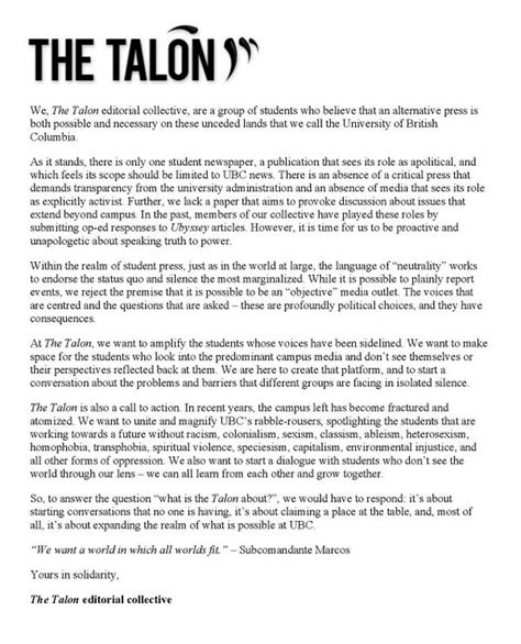 Letter Of Intent Ubc The Talon Ubc On Quot With One Week Left Until We Launch Here S Our Statement Of Intent