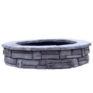 Home Depot Firepits Fossill 66 In Concrete Random Gray Pit Kit Rsfpg The Home Depot