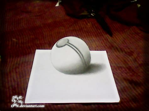 How To Make A 3d Drawing On Paper - pokeball 3d drawing by ankredible on deviantart
