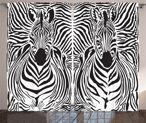 zebra print curtain panels zebra window curtains black white animal print 2 panels set