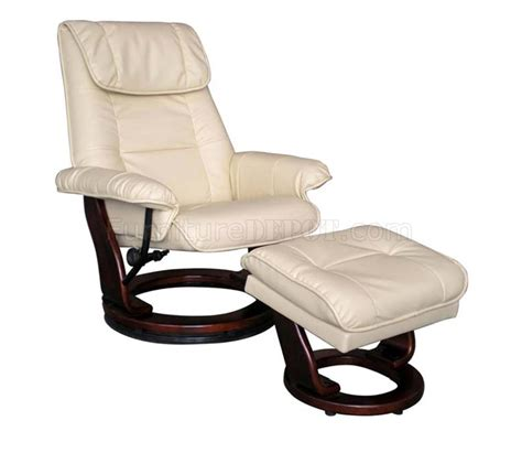 Taupe Or Brown Bonded Leather Modern Recliner Chair W Ottoman