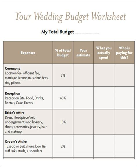 Wedding Budget Worksheet by Wedding Budget Worksheet 7 Exles In Word Pdf