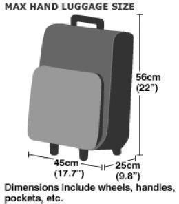cabin luggage size dimensions info