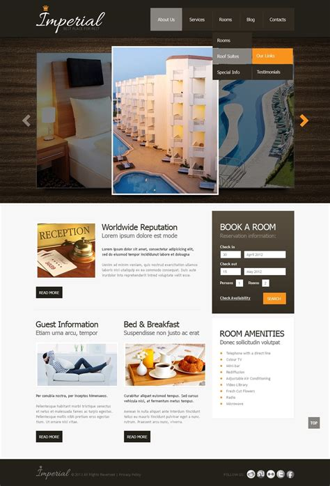 Hotels Website Template 42809 Hotel Website Templates
