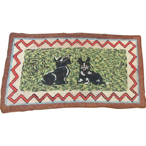 vintage made folk hooked rug with scottie dogs